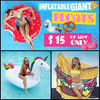 Inflatable Giant Swimming Float /Swan Flamingo / PIZZA Donuts Unicorn Pool Party Sea /Electric Pump