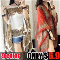 Women folk style retro fashion all-match♥ chiffon shirt printing sunscreen shirt