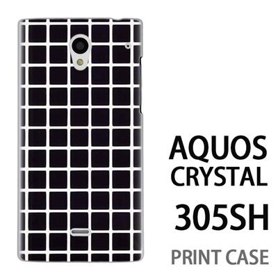 AQUOS CRYSTAL 305SH 用『0823 黒 チェック』特殊印刷ケース【 aquos crystal 305sh アクオス クリスタル アクオスクリスタル softbank ケース プリント カバー スマホケース スマホカバー 】の画像