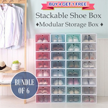 ♦ BUY 4 FREE 1 ♦ Bundle of 6 ♦ Stackable Shoe Box ♦ Modular Drawer Shelf Storage Box ♦