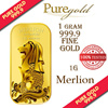 1g Singapore Merlion SEA Gold Bar / 999.9 Pure Gold / Singapore Made Gold Bar / Premium Gifts / Collections / Souvenirs