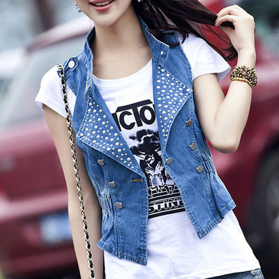 2016 spring womens clothing all match denim small vest womens vest outerwear woman vest coat girl cowboy Deals for only S$45.9 instead of S$0