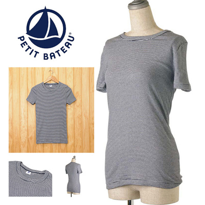 【2014A/W】プチバトー PETIT BATEAU ミラレボーダーラウンドネック半袖Tシャツ 11244 10 ABYSSE/LAITの画像