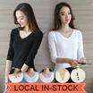 2017 *PROMO* NEW  PURE COLOR KOREAN T-SHIRT ★Basic Tops★ Premium Cotton/Hanako/Chiffon Ladies OL Tre