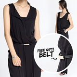 [FREE SHIPPING] free gift Jumpsuits+belt ★ New Korean Style Fashion Jumpsuits ★ PLUS SIZE / New Korea style women FOLRAL JUMPSUITS / Dress / Korean style fashion dress / work / evening /Casual Dress