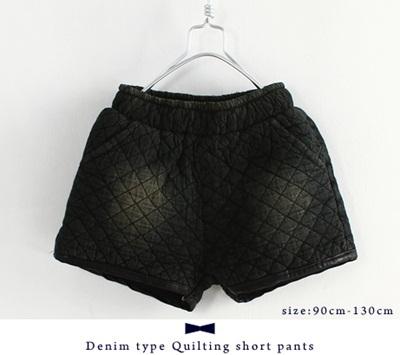 【即納】デニム風キルティングショートパンツ #ブラック ボーイズ・ガールズ・キッズアパレル ボトムス 韓国子供服 男の子 女の子 洋服 半ズボン kids girls boys スエット ホットパンツ ゴムウエストの画像