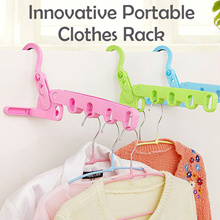 Portable Clothes Hanger 5 Hole Rack 3 Choice of Color Multipurpose Foldable Hook Can Hang Everywhere