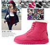 Flat heel boots female waterproof boots shoes wool Autumn winter boots Martin fashion  warm  shoes cotton shoes student