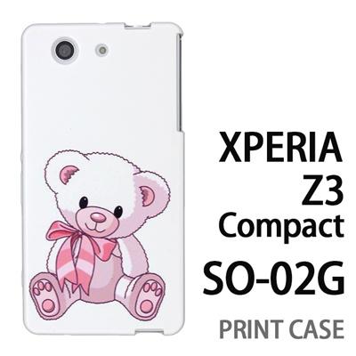 XPERIA Z3 Compact SO-02G 用『0612 リボンクマさん』特殊印刷ケース【 xperia z3 compact so-02g so02g SO02G xperiaz3 エクスペリア エクスペリアz3 コンパクト docomo ケース プリント カバー スマホケース スマホカバー】の画像