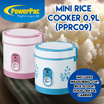 PPRC09 Mini Rice Cooker 0.9L - One-button Operation/Dishwasher Safe Non-Stick Bowl