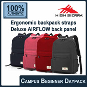 [HIGH SIERRA] Campus Beginner Backpack. Ergonomic backpack straps/Deluxe AIRFLOW back panel! 4 colors available! FREE Shipping! Guaranteed 100% Authentic Local Seller