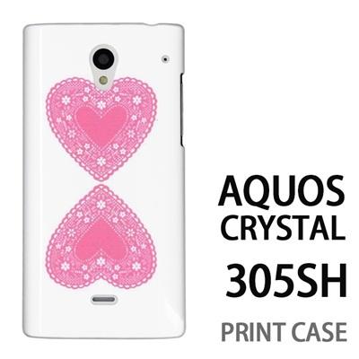 AQUOS CRYSTAL 305SH 用『0825 ピンクハート』特殊印刷ケース【 aquos crystal 305sh アクオス クリスタル アクオスクリスタル softbank ケース プリント カバー スマホケース スマホカバー 】の画像