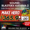 Creative Sound-BlasterX-Katana-2 / Under Monitor Audio SystemHigh Resolution 24 Bit Audio / 5 Driver Design / 7.1 Surround Sound PC Gaming / Aurora Reactive Lighting System.