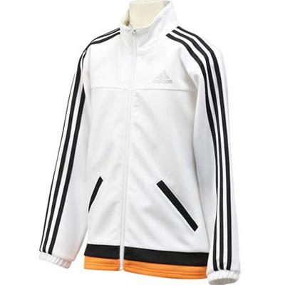 アディダス(adidas) KIDS 「強ジャー」 ジャージ ジャケット KBY23 A97246 ホワイト 【ジュニア トレーニングウェア 長袖 パーカー】の画像