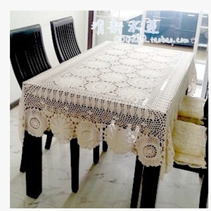 1手工钩针镂空花织的布饰琴盖长方形桌布怀旧的乡村田园