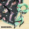 ディーゼル DIESEL スカーフ レディース 微光沢サテン プリント柄 リング付き SBANDA