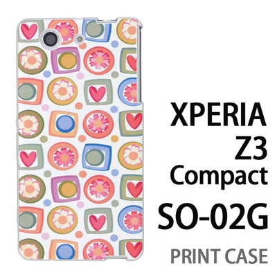 XPERIA Z3 Compact SO-02G 用『0615 花Xハート』特殊印刷ケース【 xperia z3 compact so-02g so02g SO02G xperiaz3 エクスペリア エクスペリアz3 コンパクト docomo ケース プリント カバー スマホケース スマホカバー】の画像