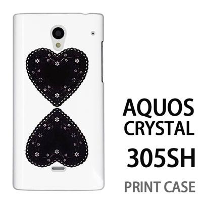 AQUOS CRYSTAL 305SH 用『0825 黒ハート』特殊印刷ケース【 aquos crystal 305sh アクオス クリスタル アクオスクリスタル softbank ケース プリント カバー スマホケース スマホカバー 】の画像