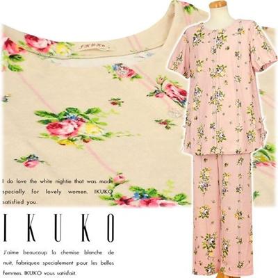 イクコ IKUKO ナイティ パジャマ ルームウェア サンドイッチパイル 花柄プリント ボタン留め全開タイプ 半袖 VQ230Pの画像