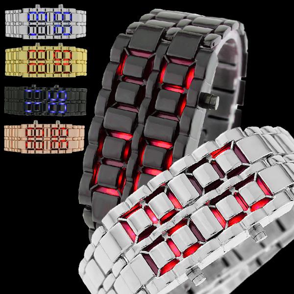 Qoo10即納 LED近未来型 デザイン性抜群 プレゼント ペアでもおススメ メンズ レディース 男性女性【geneva正規品 専用BOX付き】 バングル ブレスレット ウォッチ 腕時計 グループ チームで揃えても