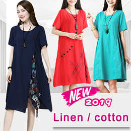 2019 new arrival cotton and linen short sleeved dress pants skirt shawl