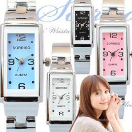 【メール便送料無料】SORRISO ソリッソ 腕時計 レディース おしゃれ アナログ スクエアケース 腕時計 (spj-SR874Lm) プレゼント 女性 誕生日 きれいめ パステル シャーベットカラー レクタンギュラー 大人かわいいスリムデザイン♪