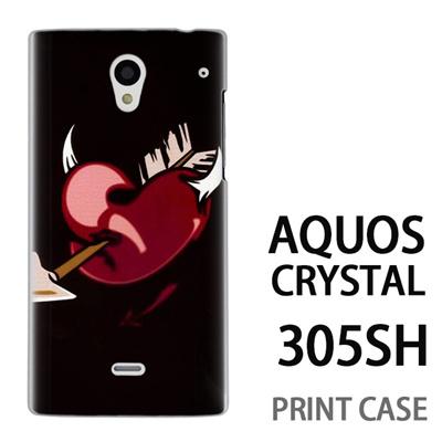 AQUOS CRYSTAL 305SH 用『0825 黒ハート矢』特殊印刷ケース【 aquos crystal 305sh アクオス クリスタル アクオスクリスタル softbank ケース プリント カバー スマホケース スマホカバー 】の画像