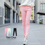Tokyo Fashion - Basic Twill Stretch Skinny Pants With Buttons-5003681