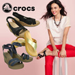 [CROCS] FREE SHIPPING FROM USA/100% AUTHENTIC ♥WOMENS SANDALS LEIGH WEDGE JELLY SHOES MARY JANE ISABELLA THEA  NEW WEDGE !