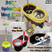 [REDUCED EFFORT!] ★360 Magic DUAL Spin Mop★Spin Mop★Automatic Spin Dry Mop ★ Stainless Steel Filter★Water Saving ★ Speed Mop
