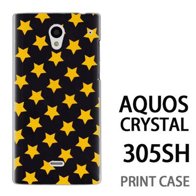 AQUOS CRYSTAL 305SH 用『0825 星黒黄 ドット』特殊印刷ケース【 aquos crystal 305sh アクオス クリスタル アクオスクリスタル softbank ケース プリント カバー スマホケース スマホカバー 】の画像