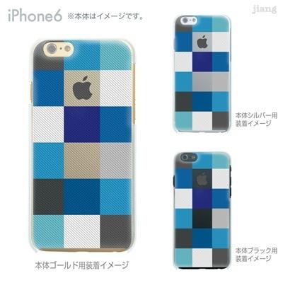 iPhone6 4.7 inch iphone ハードケース Clear Arts ケース カバー スマホケース クリアケース かわいい おしゃれ 着せ替え イラスト チェック柄 06-ip6-ca0032blの画像