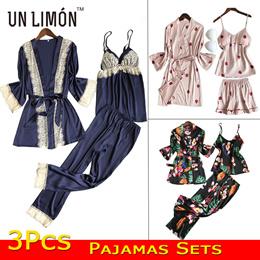 UNLIMON 3Pcs Pajamas Sets Women Nighties Silk Nightgown Ladies Pjs Lace Girls Robes Tanks Pants
