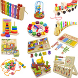 Wooden Toys Colorful Color Number Alphabet Kids Baby Education Eye Hand Coordination