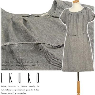 イクコ IKUKO アウター ワンピース 綿麻シャンブレーツイル フレンチスリーブ VV150Qの画像