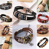 [Valentine Gift] Bracelet | Leather Bracelet | Wristlet | Retro Woven | Braided Leather | Beaded | Leather Jewelry | Handmade | Couple |Korean Unisex | Men | Women | Birthday Gift