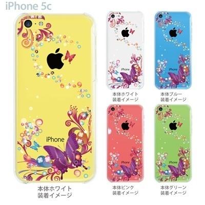 【iPhone5c】【iPhone5c ケース】【iPhone5c カバー】【iPhone カバー】【クリア ケース】【スマホケース】【クリアケース】【イラスト】【フラワー】【花と蝶】 06-ip5cp-ca0083の画像