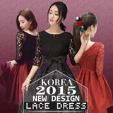 【High Quality Guarantee】2015 New Arrived Korea Lace Dress S-2XL Limitted Offer Buy 2 Free Shipping