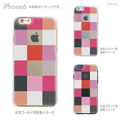 iPhone6 4.7 inch iphone ハードケース Clear Arts ケース カバー スマホケース クリアケース かわいい おしゃれ 着せ替え イラスト チェック柄 06-ip6-ca0032pkの画像