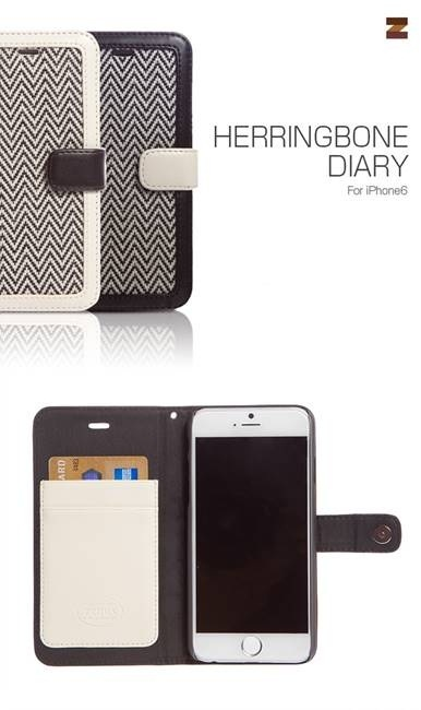 iPhone6カバーアイホン6 アイフォン6ケースiphoneケース アイフォン ブランド iphoneカバーiPhone6用 【iPhone6 4.7インチ 】ZENUS Herringbone Diary アイボリー(ヘリンボーンダイアリー)【メール便送料無料】の画像
