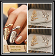 [New Fashion]*Finger Nail Ring*Exquisite Cute Retro Queen Dragonfly Design Rhinestone Gold/Silver Finger Nail Rings*Fashion Accessories*Stylish*