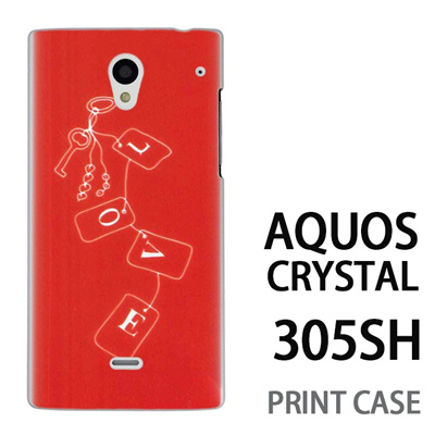 AQUOS CRYSTAL 305SH 用『0828 Loveタグ ピンク』特殊印刷ケース【 aquos crystal 305sh アクオス クリスタル アクオスクリスタル softbank ケース プリント カバー スマホケース スマホカバー 】の画像