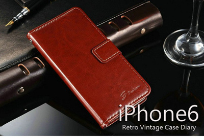 iPhone6カバーアイホン6 アイフォン6ケースiphoneケース アイフォン ブランド iphoneカバーiPhone6用 【iPhone6 4.7インチ】Retro Vintage Diary(ビンテージダイアリー)/横開き/手帳型PU Leather Case for iPhone 6【メール便送料無料】の画像