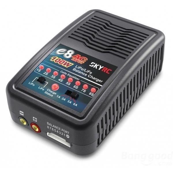 【クリックで詳細表示】SkyRC E8 6A 100W 2-8S LiPo LiFe 100-240V Balance Charger AC Input