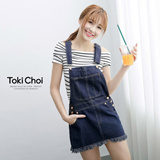 Tokyo Fashion - Acid Wash Denim Skirt With Suspenders And Copper Buttons-5000810
