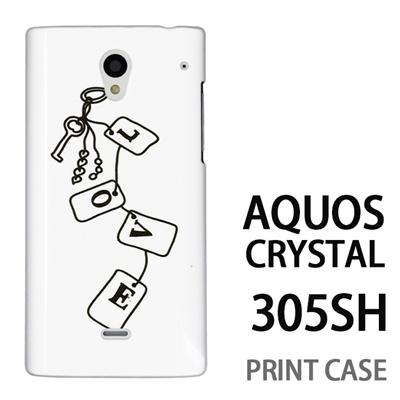 AQUOS CRYSTAL 305SH 用『0828 Loveタグ 白』特殊印刷ケース【 aquos crystal 305sh アクオス クリスタル アクオスクリスタル softbank ケース プリント カバー スマホケース スマホカバー 】の画像