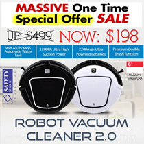 [NDP SG 51 SALE]★ROBOT VACUUM CLEANER With WATER TANK ★ JAPAN MOTOR★ Singapore Safety Mark certified [AUTHENTIC]★ OFFICIAL SINGAPORE AGENT WARRANTY★ TRUE HIGH SUCTION POWER ★ Qoo10 BEST SELLER★