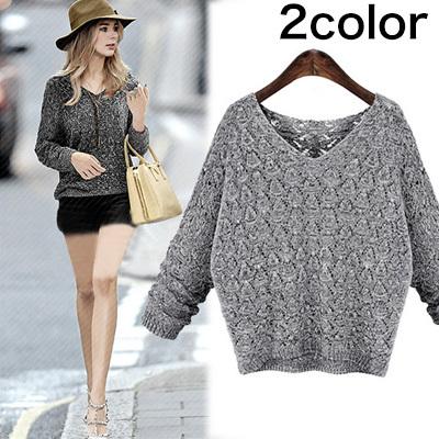 春先まで着れるざっくり編み綿ニットVネックセーター2色長袖線体型カバーになる!room162[予約]の画像