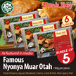[Best Seller] 5 pcs of HALAL Premium Nyonya Muar Otah / 6 Flavours / Frozen Fresh! (190g/pc)
