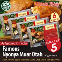 [OtahBoy] 5pcs of HALAL Premium Nyonya Muar Otah / 6 Flavours / Frozen Fresh! (190g/pc)